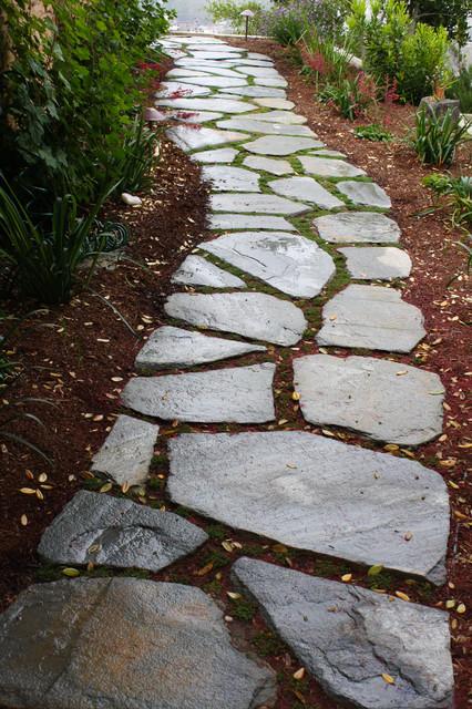 Meandering Flagstone Garden Path Contemporary Landscape
