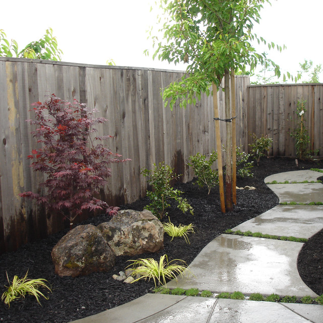 Meandering walkway in sideyard contemporary landscape for Landscaping rocks sacramento