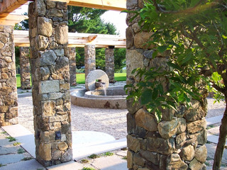 GARDEN: meditation garden with reclaimed olive press fountain