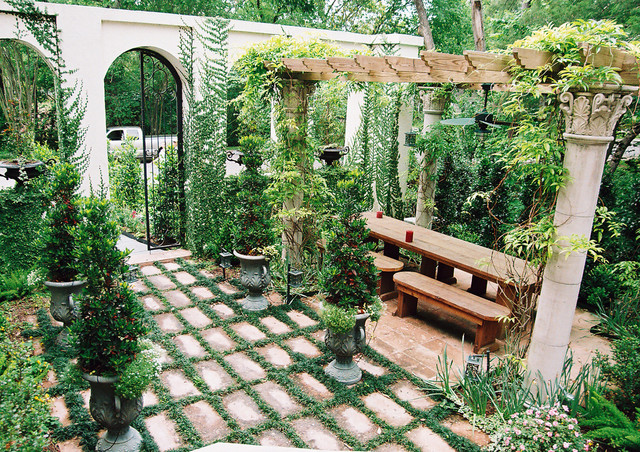 Mediterranean backyard in houston mediterranean for How to landscape backyard