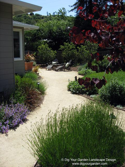Mediterranean Garden With Curving Pathways Of Dg And Drought Tolerant Plants Mediterranean
