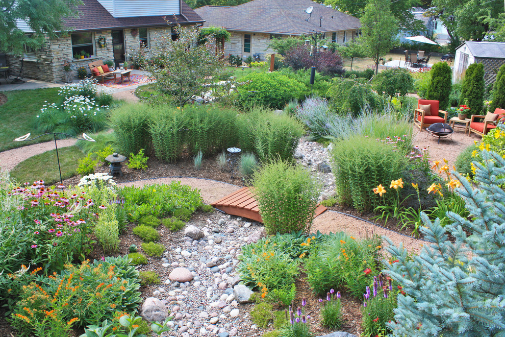 This is an example of a traditional backyard landscaping in Milwaukee.