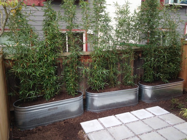 Metal planters galvanized raised beds contemporary for Large metal tub for gardening