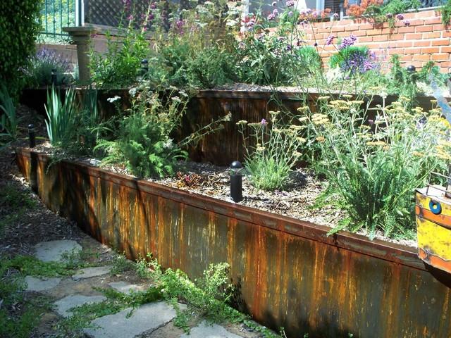 Metal Retaining Walls Planters Steps Eclectic Garden
