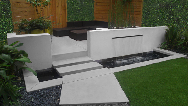 Mid century modern pond waterfall and patio modern for Modern garden pond designs