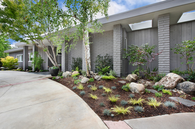 This is an example of a mid-sized midcentury modern partial sun front yard  concrete - Mid Century Modern Redo - Front Entry - Midcentury - Landscape