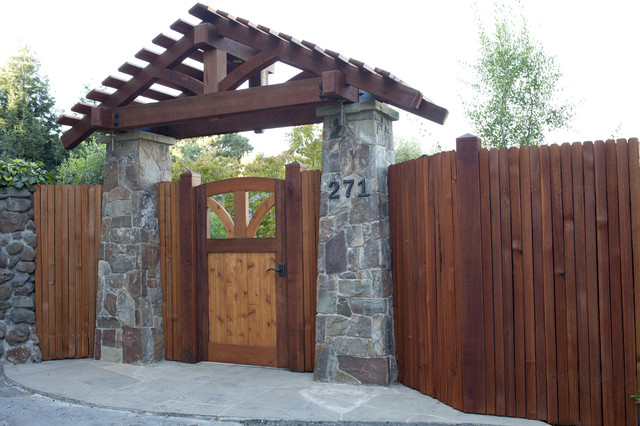 Mill valley residence rustic landscape san francisco for Garden gate designs wood rustic