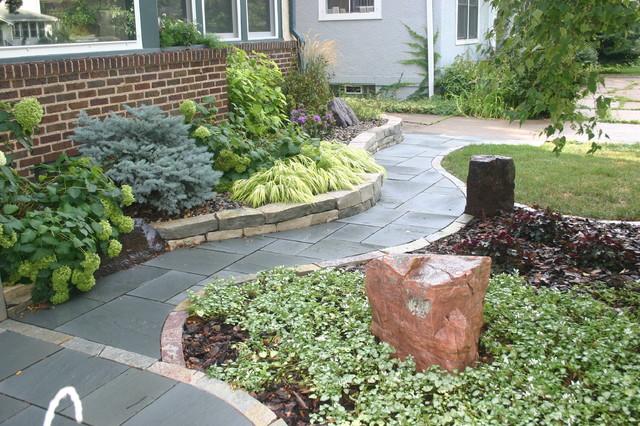 Minneapolis bluestone walkway contemporary landscape for Plants for walkway landscaping ideas