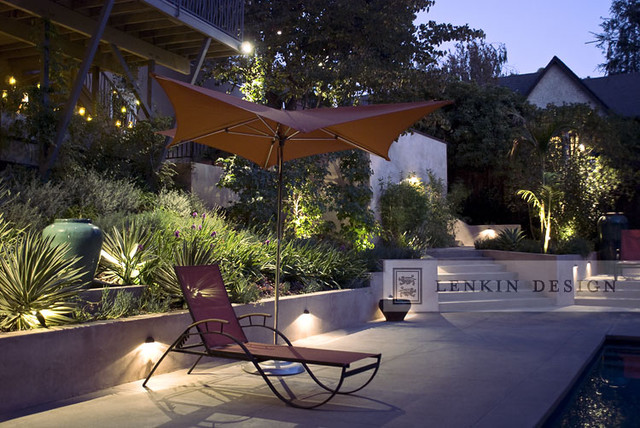 Modern Back Yard Lighting Contemporary Landscape Los Angeles By Lenki
