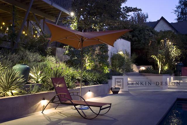 Modern Back Yard Lighting Contemporary Landscape Los