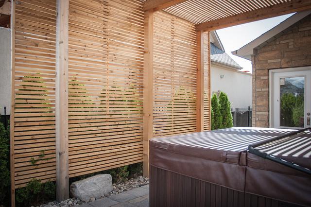 Modern carpentry - Woodbridge pergola and privacy screen. modern-landscape