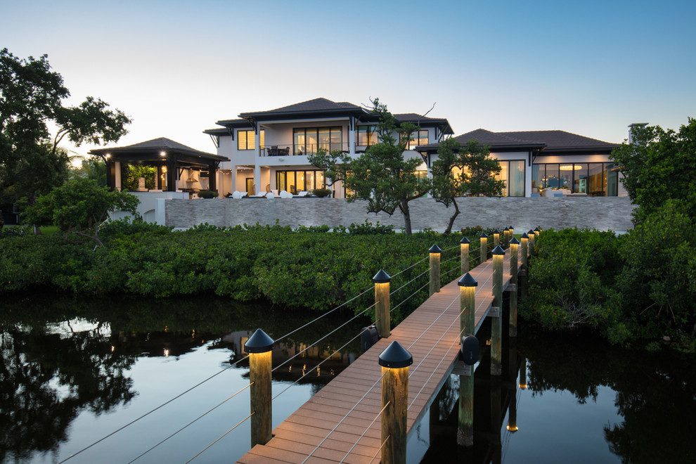 Design ideas for a coastal garden path in Tampa with decking.