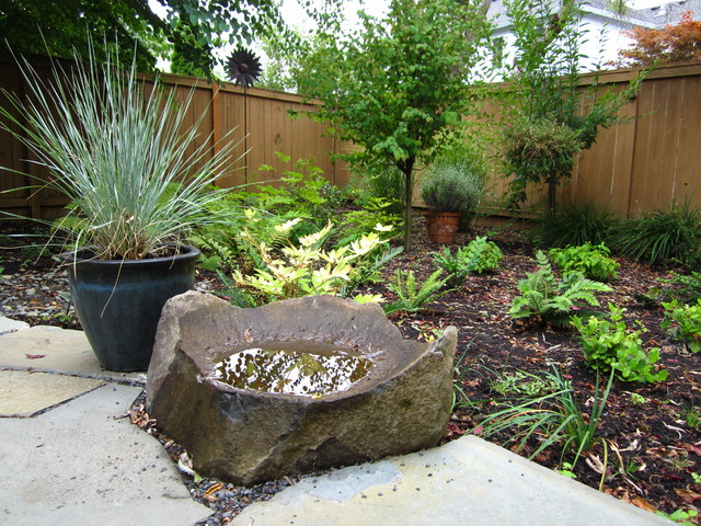 Modern Cottage Shade Garden with native plants and stone
