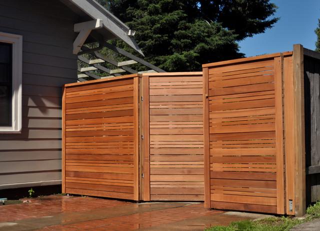 Modern fence gate landscape portland by