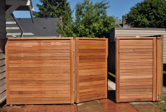 modern fence gate modern landscape portland by. Black Bedroom Furniture Sets. Home Design Ideas