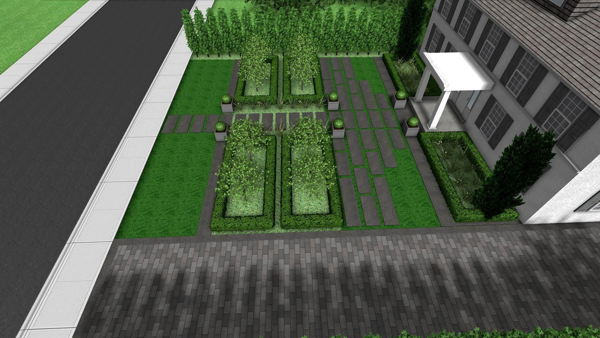 Modern Formal Front Yard Landscape Design