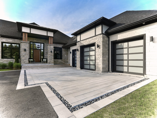 Inspiration For A Contemporary Front Yard Concrete Paver Driveway In Toronto