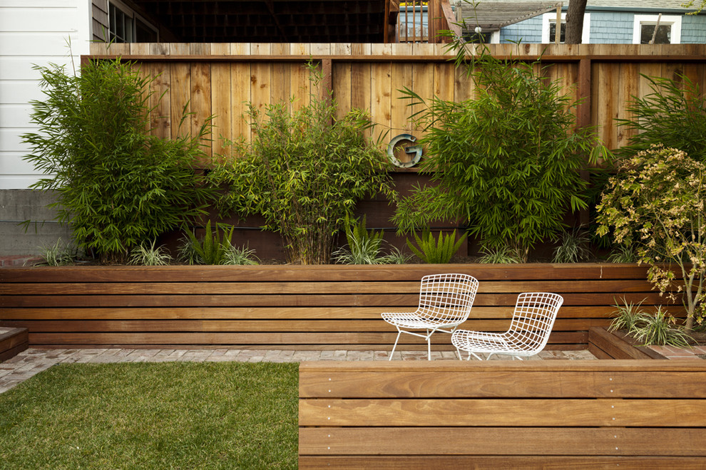 This is an example of a contemporary backyard landscaping in San Francisco.