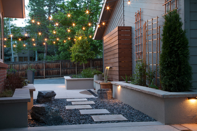 Urban courtyard modern landscape denver by tlc for Houzz landscape architects