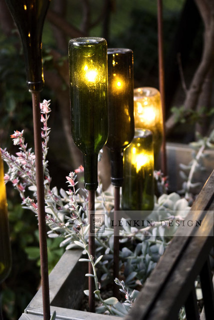 Modern Planter With Wine Bottle Lighting Eclectic