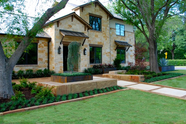 Modern urban ranch style home mediterranean landscape for Garden design landscaping dallas tx