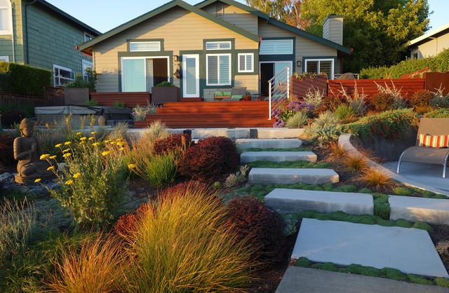 Modern Water-Side Landscape Remodel - Lawn Replaced, Novato, CA