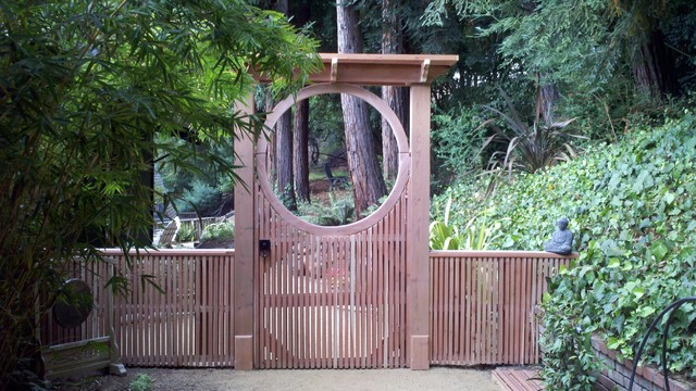Moon Gate With Asian Inspired Gate Latch Asian
