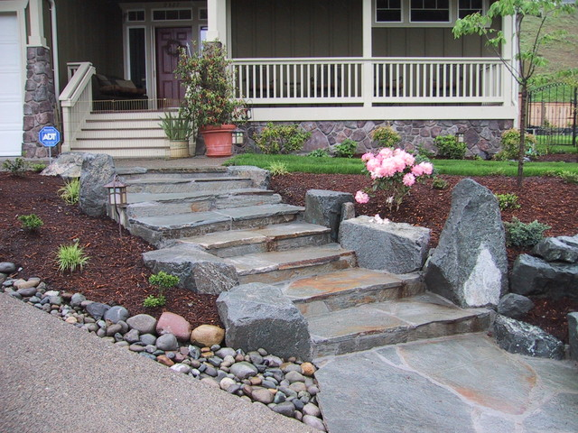 Mortared Stone Steps Traditional Landscape Seattle