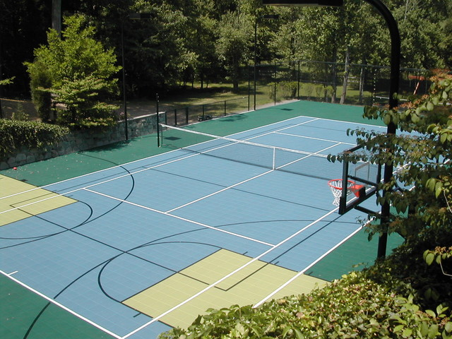 Multi purpose tennis court traditional landscape dc for Backyard multi sport court