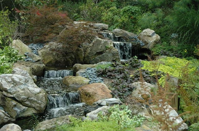 Multi tiered waterfall stream traditional landscape for Tiered pond waterfall