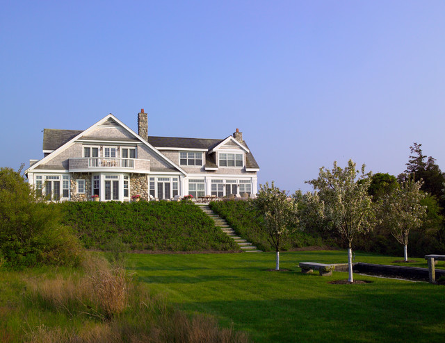Nantucket Residence Exterior with deck beach-style-landscape