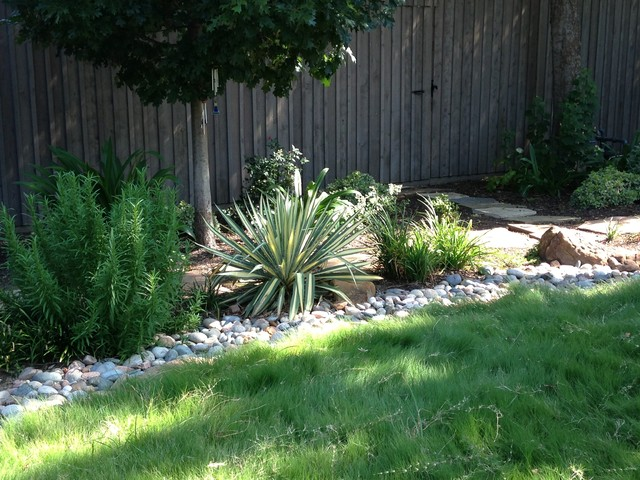 Natural Back Yard with Water Feature eclectic-landscape