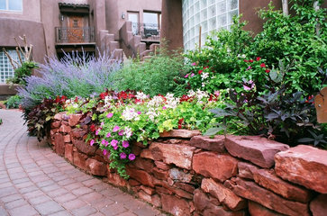Natural dry-stack wall with bedded Perennials contemporary landscape
