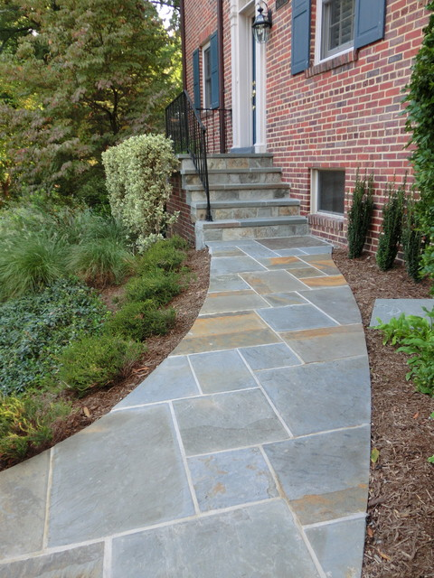 Natural flagstone walkway and steps traditional Natural stone walkways