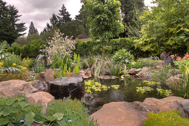 Natural pond traditional landscape portland by for Natural landscape design