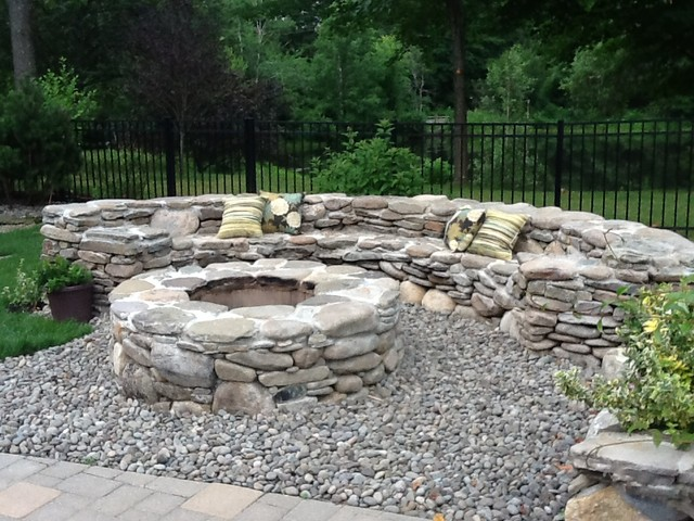 Natural stone fire pit traditional landscape boston for How to build a river rock patio