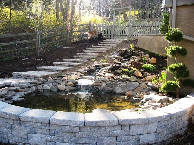 Natural stone pond custom ep henry retaining wall and for Garden pond stones