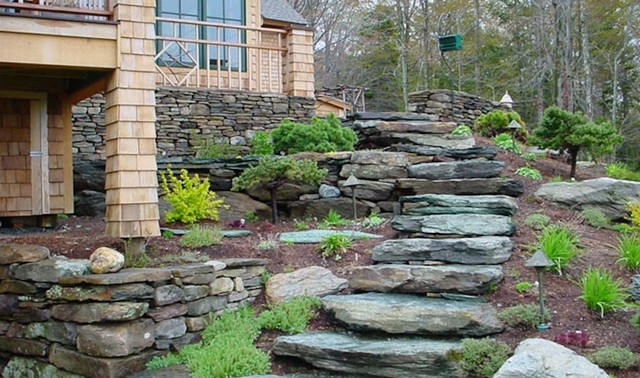Natural Stone Stair Treads Craftsman Exterior
