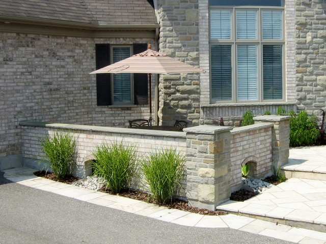 natural stone walls around courtyard contemporary