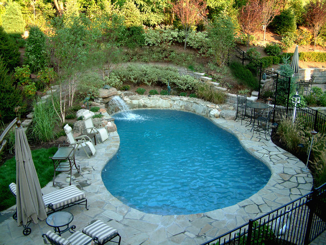 natural swimming pool and waterfall rustic landscape - Swimming Pool Landscape Designs