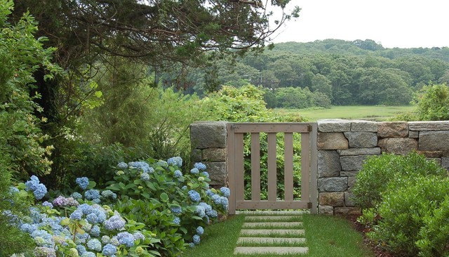 cape cod stone and gravel new england fieldstone wall and gate on cape cod