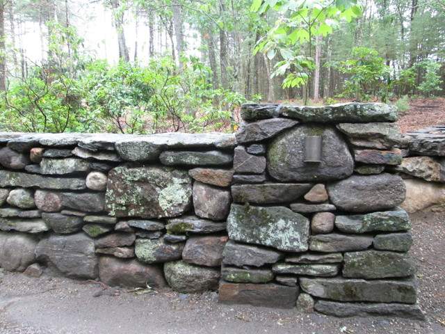 Fieldstone Walls Landscaping : New england fieldstone wall with battered pier and low