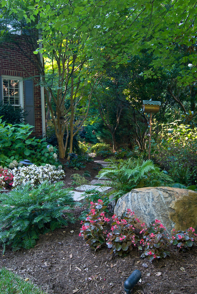 Inspiration for a traditional side yard landscaping in Charlotte.