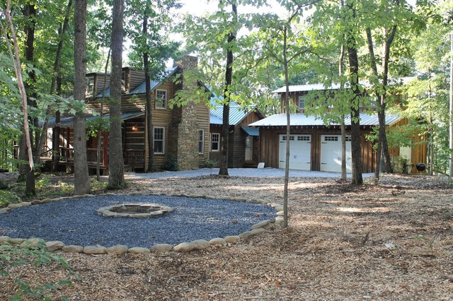 design ideas for a rustic landscaping in atlanta with a fire pit