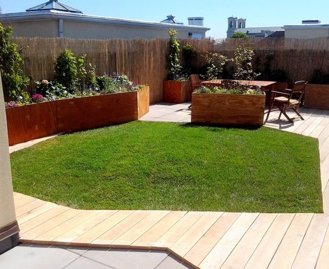 NYC Rooftop Garden Deck of Greenroof Fusion contemporary-landscape