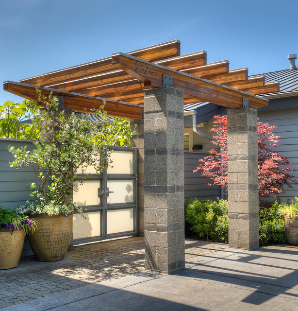 Entry arbor contemporary landscape seattle by dan Wood valley designs