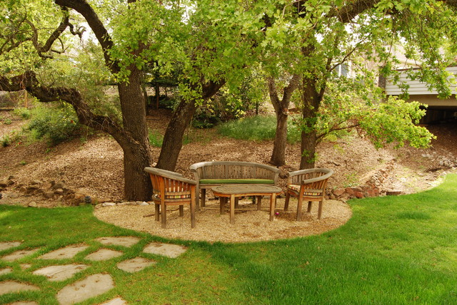 oak tree retreat contemporary landscape - Garden Ideas Under Trees