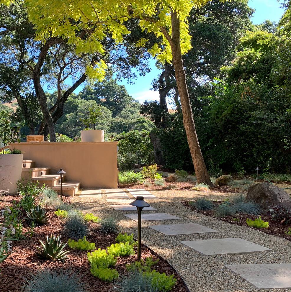 Diseño de camino de jardín de secano, contemporáneo, extra grande, en verano, en patio trasero, con adoquines de piedra natural y exposición parcial al sol