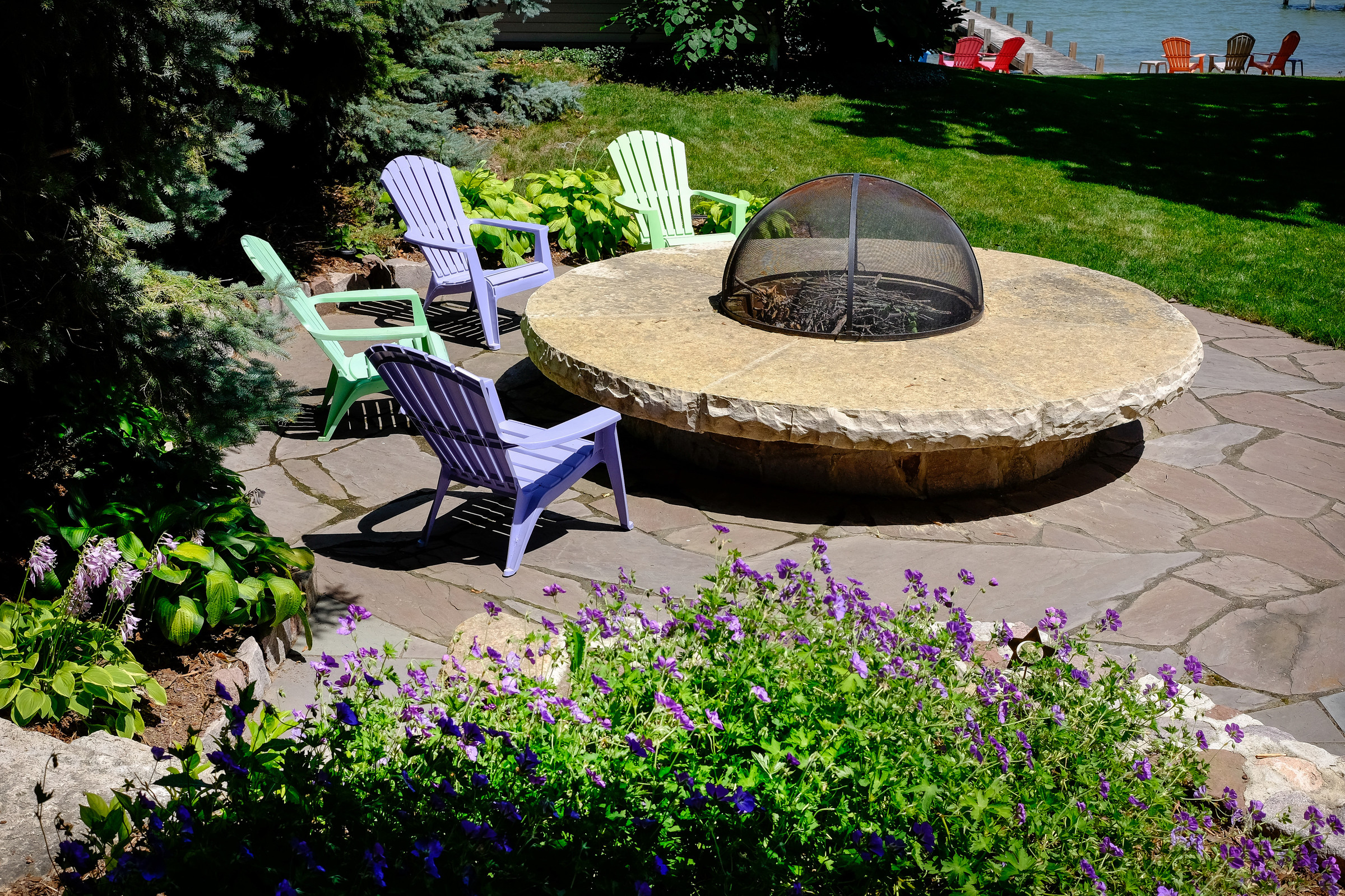 Contemporary Stone Fire Pit - Oconomowoc