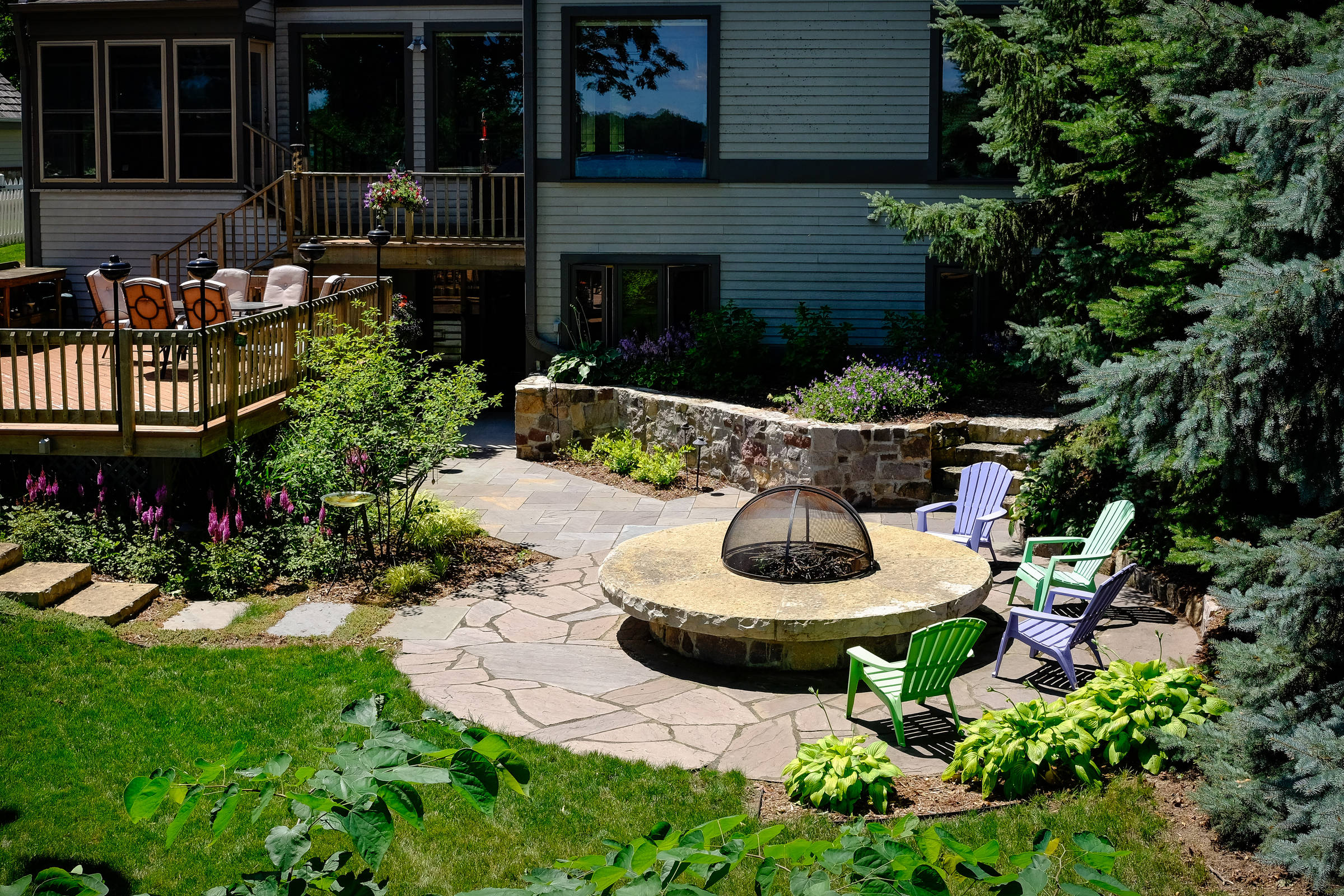Contemporary Backyard and Fire Pit - Oconomowoc